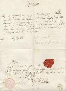 Zeugnis. (...) für Johann Walter am 9. December 1833 als Kutscher.