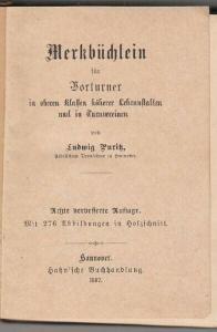 PURITZ, Merkbüchlein für Vorturner in oberen... 1887