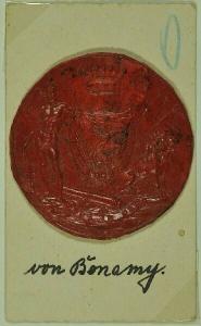 Wappensiegel des Hauses Bonamy. Wappenschild... 1800