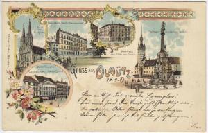 Gruss aus Olmütz. Front der Domkirche. Deutsche... 1890