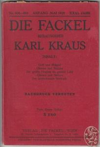 DIE FACKEL. Hrsg. Karl Kraus. 1929
