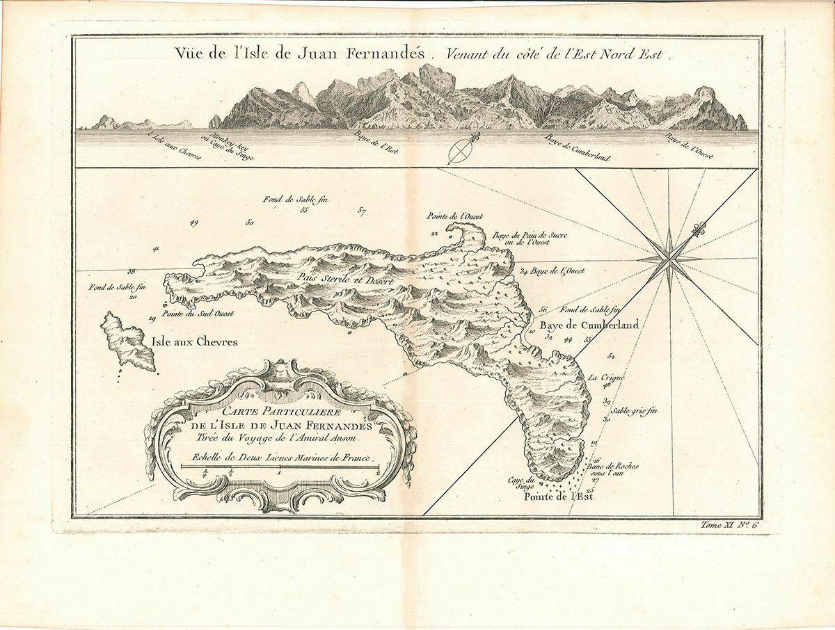Vue de l`Isle de Juan Fernandés. Venant du coté de l`est Nord Est. Carte particu 0