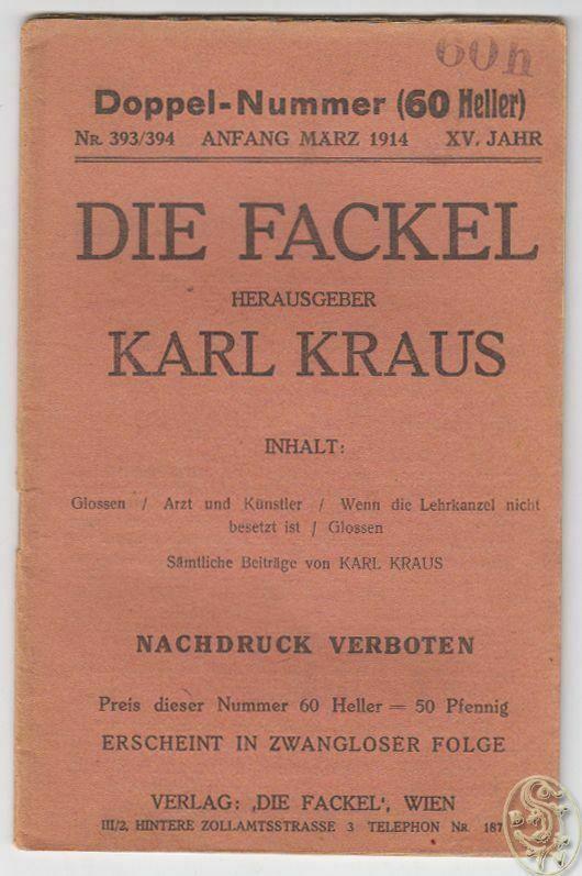 DIE FACKEL. Hrsg. Karl Kraus. 0090-05 0