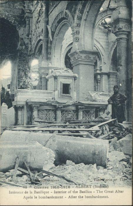 Albert Somme Guerre Basilique apres le Bombardement / Albert /Arrond. de Peronne