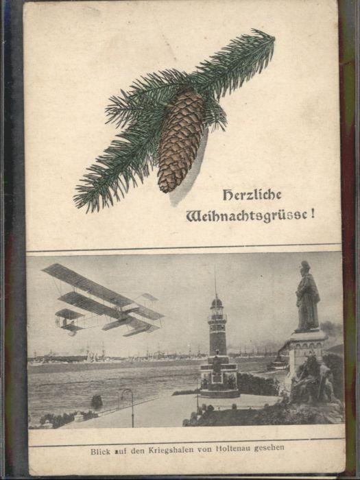 Holtenau Kiel Kriegshafen Wasserflugzeug Weihnachtskarte * / Kiel /Kiel Stadtkreis