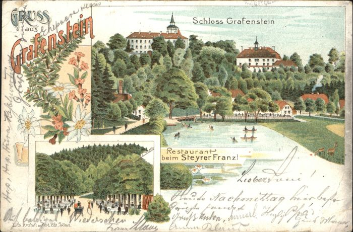 Grafenstein Grottau Schloss Grafenstein Restaurant beim Steyrer Franz x / Hradek nad Nisou /Liberec