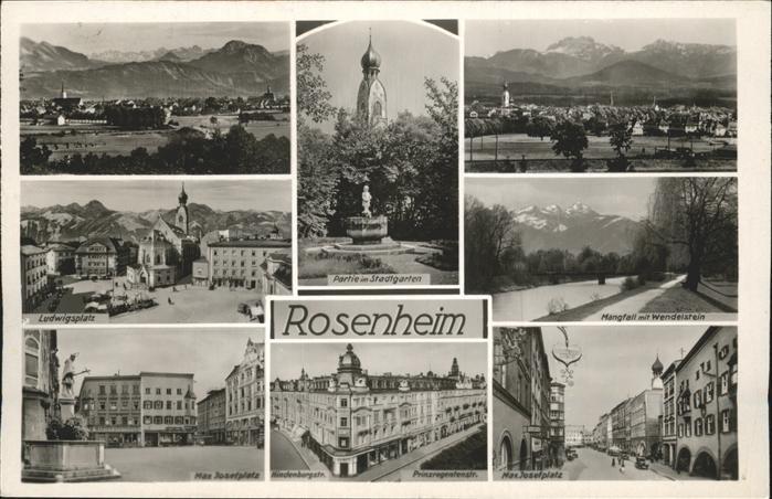 Rosenheim Bayern Max-Josephsplatz Ludwigsplatz Stadtgarten Kat. Rosenheim
