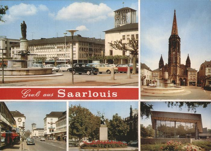 Saarlouis Kirche Marktplatz Brunnen Kat. Saarlouis