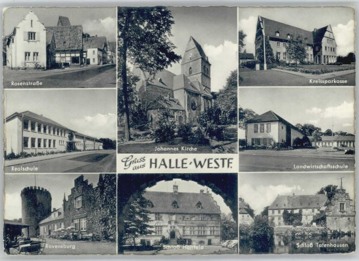Halle Westfalen Rosenstrasse Realschule Ravensburg Johannes Kirche Schloss Holtfeld Kreissparkasse Landwirtschaftsschule Schloss Tatenhausen x