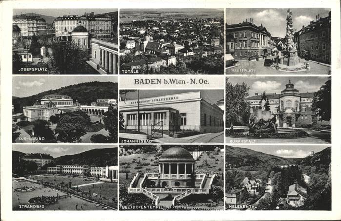 Baden Wien Hauptplatz Helenental Beethoventempel Strandbad Josefsplatz Casino Kat. Baden