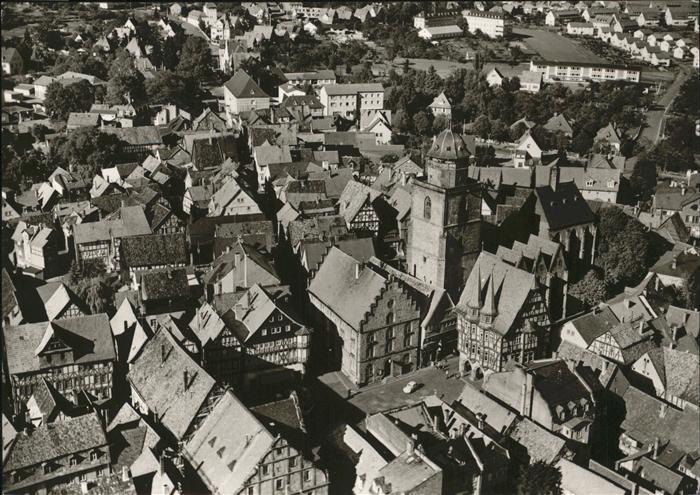 Alsfeld Luftaufnahme Alsfeld Altstadt Marktplatz Walpurgiskirche Kat. Alsfeld