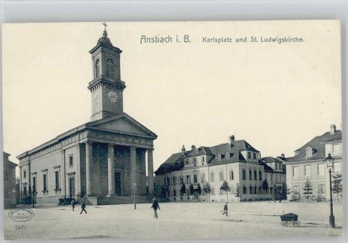 Ansbach Mittelfranken Ansbach Mittelfranken Karlsplatz St. Ludwigs Kirche  ungelaufen ca. 1910 / Ansbach /Ansbach LKR