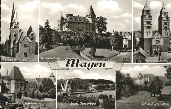 Mayen Clemens-Kirche Genovevaburg Herz-Jesu-Kirche Schloss Buerresheim / Mayen /Mayen-Koblenz LKR