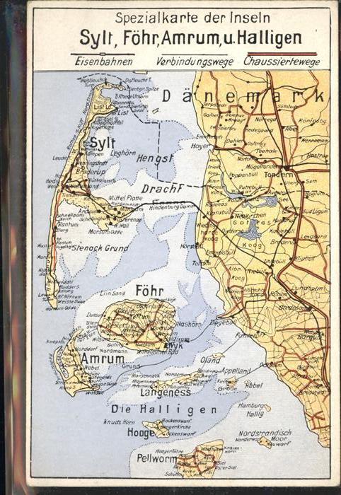 Karte Sylt Amrum.Insel Sylt Spezialkarte Der Inseln Foehr Amrum Halligen Westerland Nordfriesland Lkr