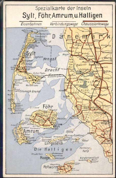 Karte Sylt Amrum.Insel Sylt Foehr Amrum Halligen Spezialkarte