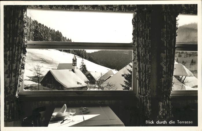 Muggenbrunn Blick durch die Terasse Gasthof Pension z. Adler / Todtnau /Loerrach LKR