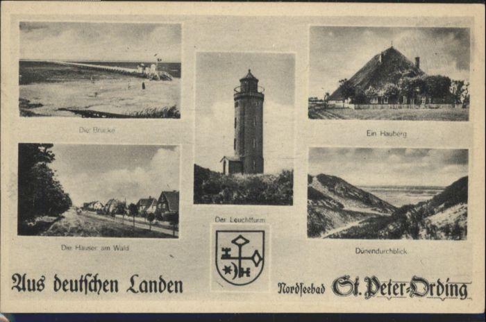 St Peter-Ording St Peter-Ording Wappen Leuchtturm Bruecke Hauberg  * / Sankt Peter-Ording /Nordfriesland LKR