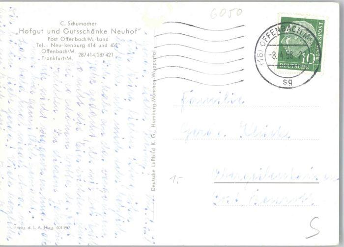 Offenbach Fliegeraufnahme Hofgut Neuhof Gutsschaenke x Nr. we92959 ...