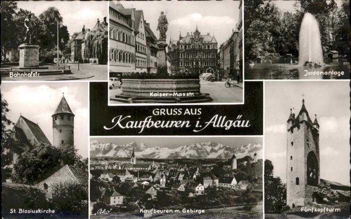 Kaufbeuren Kaiser Maxstrasse Jordananlage Fuenfkopfturm St Blasiuskirche Bahnhofstrasse / Kaufbeuren /Kaufbeuren Stadtkreis