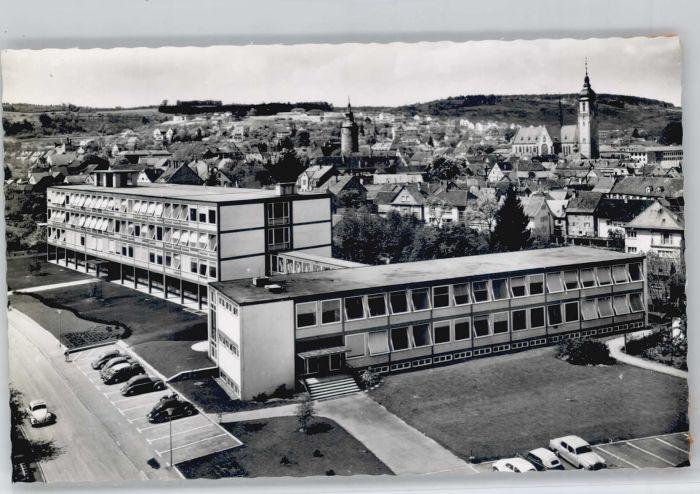 Totalansicht Gymnasium Rathaus Lithographie Tauberbischofsheim