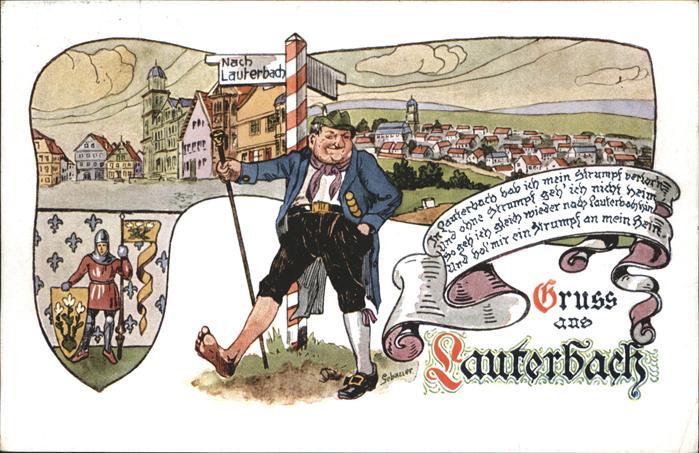 Lauterbach Wanderer Karrikatur Kat. Lauterbach (Hessen)