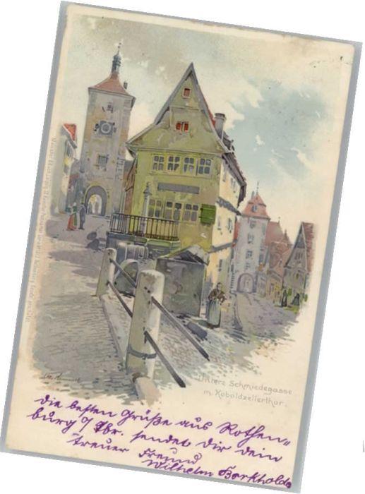 Rothenburg Tauber Schmiedegasse Koboldzellerthor Kuenstler Otto Hammel x
