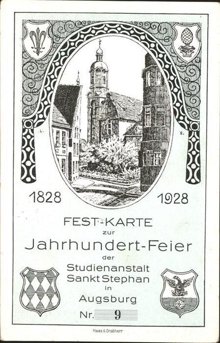 Augsburg Jahrhundert Feier Festkarte