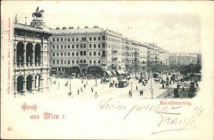 Wien Kärnthnerring Strassenbahn Kutsche