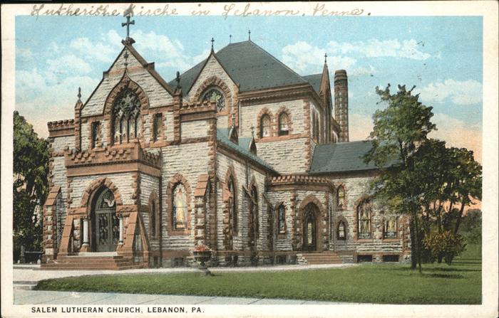 Lebanon Pennsylvania Salem Lutheran Church Kat. Lebanon