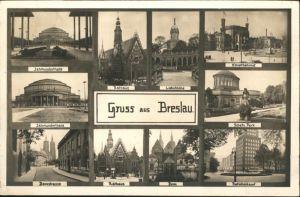 Breslau Niederschlesien Breslau Jahrhunderthalle Rathaus Hauptbahnhof Domstrasse Dom Postscheckamt * / Wroclaw /