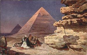 Gizeh Kuenstler F Perlberg Pyramiden  / Aegypten /
