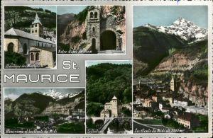 St Maurice Valais Chateau Basilique des Martyrs Les Dents du Midi Kat. St Maurice