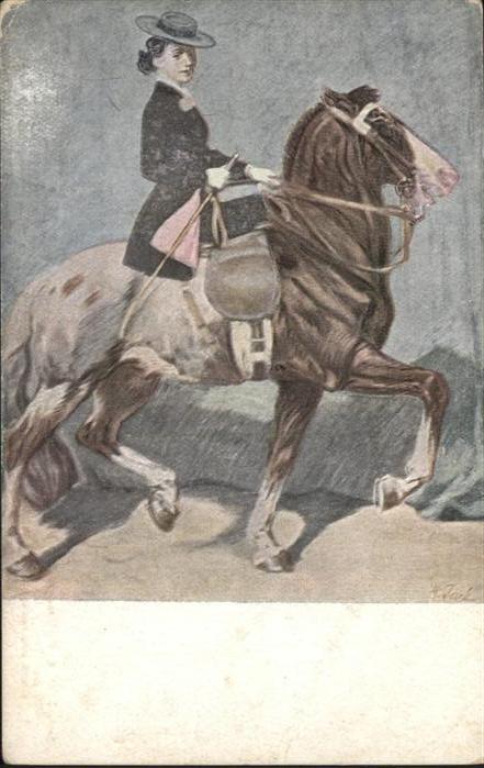 Pferde Frau Reiterin Kuenstler Professor Angelo Jank / Tiere /