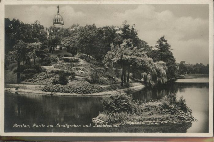 Breslau Niederschlesien stadtgraben Liebichshoehe / Wroclaw /