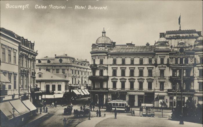 Bucuresti Calea Victoriei Hotel Bulevard Strassenbahn Kutsche / Rumaenien /