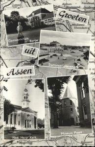 Assen Gemeentehuis Stationsemplacement Kerk Museum Poort x