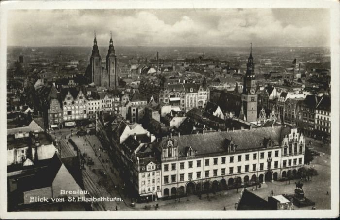 wu86802 Breslau Niederschlesien Breslau Blick vom Elisabethturm x Kategorie. Wroclaw Alte Ansichtskarten