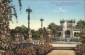 Sevilla Exposicion Ibero-Americana Estanque Pabellon Real x