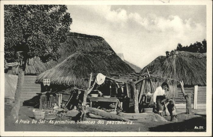 Praia As primitivas barracas pescadores *