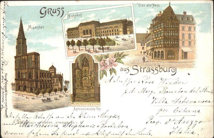 Strasbourg Alsace Strassburg Muenster Astronomische Uhr Bahnhof Litho *