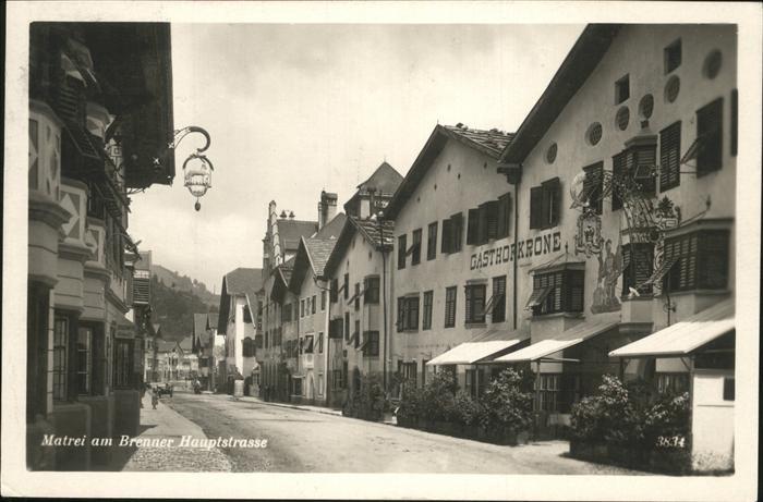 Matrei Brenner Hauptstrasse Gasthof Krone Kat. Matrei am Brenner