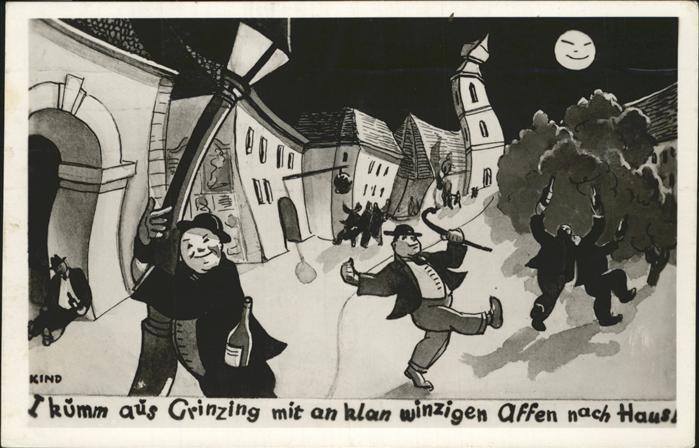Grinzing Wien Karrikatur / Oesterreich /