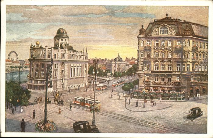 Wien Oesterreich Aspernplatz Urania Kristallcafe Strassenbahn Kat. Wien