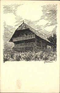 Rosegg Geburtsthaus Rosegger Alpl Krieglach Zeichnung Kat. Rosegg
