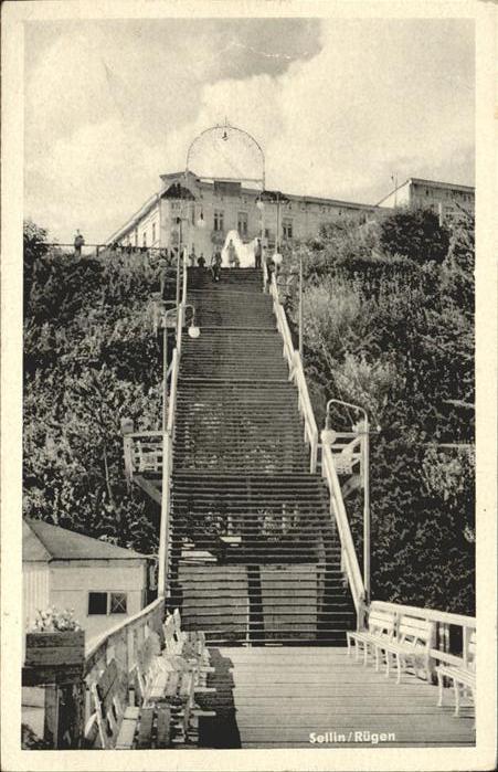 Sellin Ruegen Treppe zum Strand Kat. Sellin Ostseebad