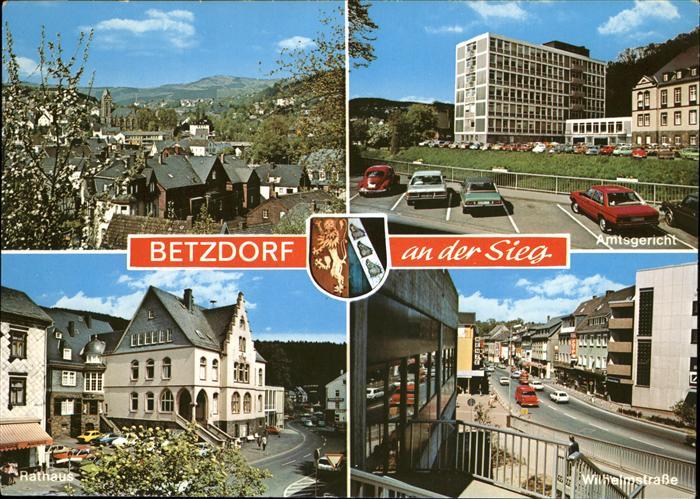 Betzdorf Sieg Teilansicht Betzdorf Rathaus Wilhelmstrasse Amtsgericht Stadtwappen Kat. Betzdorf