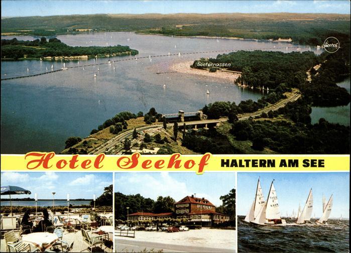 Haltern Luftaufnahme Seeterrassen Hotel Seehof Segelboote Kat. Haltern am See