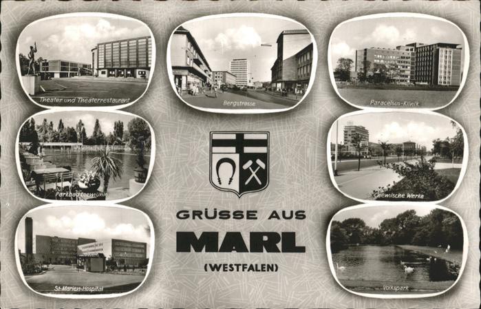 Marl Westfalen Theater Parkbad Loemuehle St. Marien Hospital Volkspark Chemische Werke Paracelsus Klinik Bergstrasse Stadtwappen  Kat. Marl