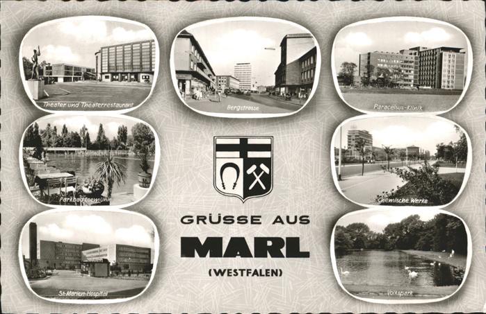 Marl Westfalen Theater Bergstrasse Paracelsus Klinik Parkbad Loemuehle Chemische Werke St. Marien Hospital Volkspark Stadtwappen Kat. Marl