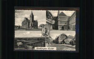 Hattingen Ruhr Stadtwappen Altes Rathaus, Ruhrbruecke / Hattingen /Ennepe-Ruhr-Kreis LKR